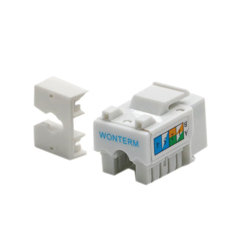 Rectangular UTP RJ45 Keystone Module Cat5E Keystone Jack With Fluke Test
