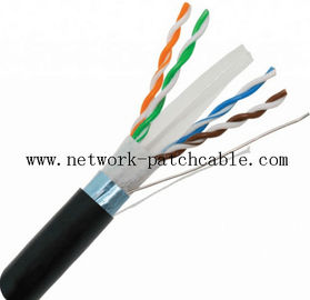 China HDPE FTP Network Outdoor Cat6 Cable 0.58mm 4PR Black PE 10Mbit Ethernet factory